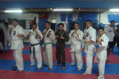 a group of martial arts students posing