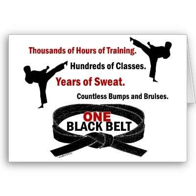 obtaining the black belt in martial arts